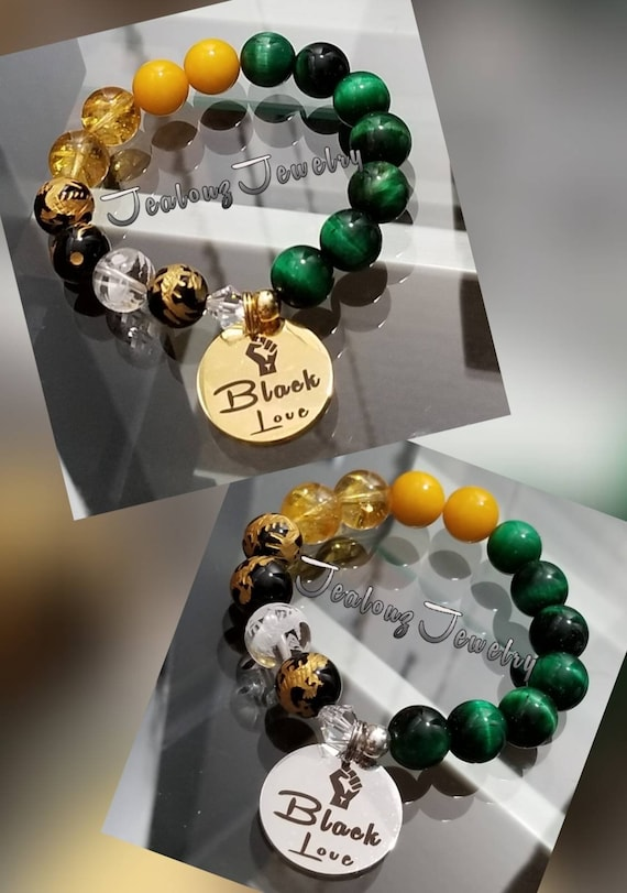Chunky Jamaica Color Black Love 12mm Gemstone Jade Mixed Metal Sterling Silver & Stainless Steel Coin Charm Bracelet