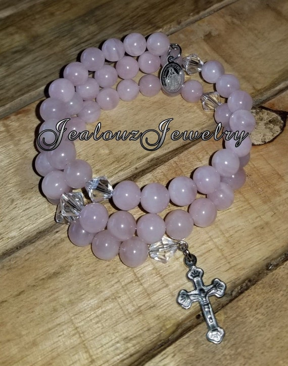 Stainless Steel Healing Rose Quartz Gemstone 8mm bead Rosary Wrap Cross Bracelet