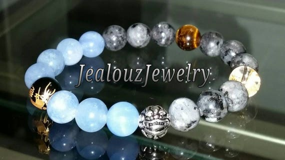 "Ice Blue Jade Gray Labradorite Gemstone 7"" Stretch Yoga Bracelet 925 Sterling Silver Lucky Dragon Quartz Mens Mala"