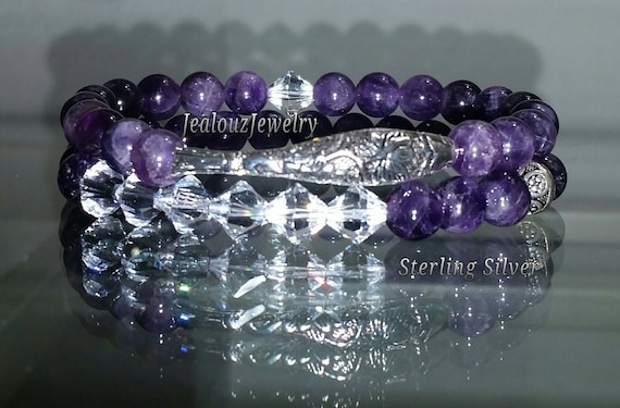 "925 Thai Sterling Silver Lucky Koi Fish 7"" Purple Amethyst Gemstone Beaded Stretch Bracelet Set"