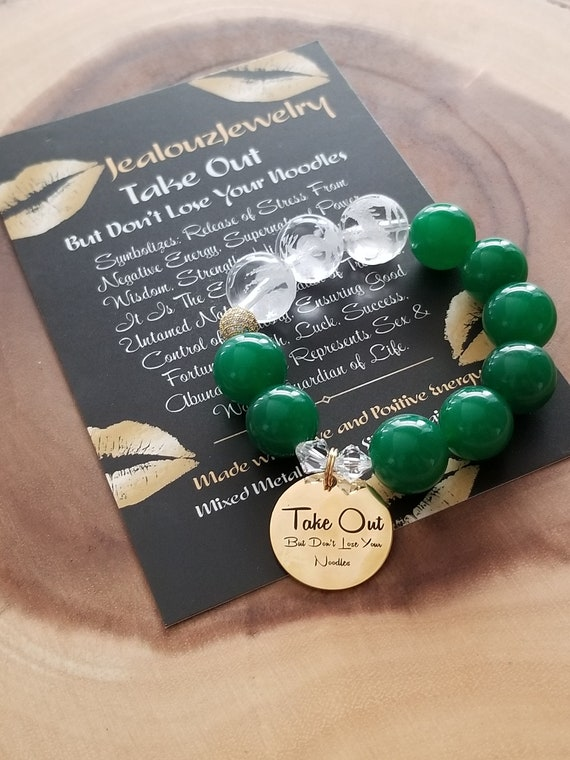 Chunky Natural 16mm Jade Carved Gemstone Bead Bracelet Gold Coin Take Out But Don't Lose Your Noodles