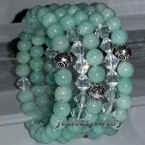 "925 Thai Sterling Silver Grade A Turquoise Amazonite 8mm Gemstone 7"" Stretch 5pc Stack Bracelet Arm Candy Set Made With Swarovski Crystal"