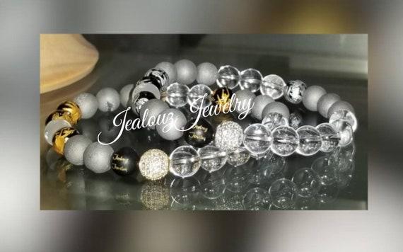 Cubic Zirconia 925 Sterling Silver Gold Lucky Dragon 8mm Druzy Geode Gray Quartz Multi Color Gemstone Bracelet