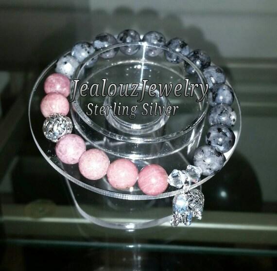 Sterling Silver 925 Lucky Elephant Endless Knott Pink Rhodonite Gray Labradorite Gemstone Beaded Stretch Bracelet