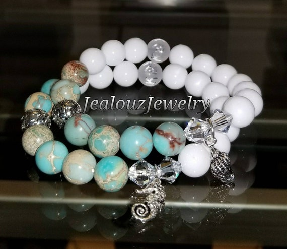 Sterling Silver 925 Lucky Endless Knott Turquiose Serpentine Jade Guidance Gemstone Beaded Stretch Seahorses Seashell Bracelet Set