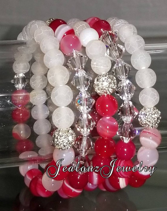 "5 Crystal  Frosted White Multicolor Fuchsia Pink Agate Gemstone 7"" Shamballa Rhinestone Stretch Bracelet Arm Candy Stack Set"