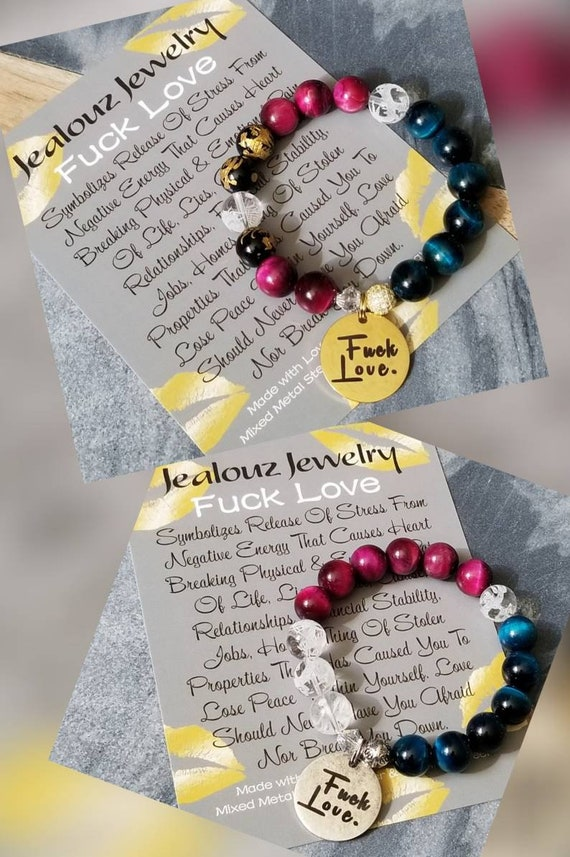JealouzJewelry Fuck Love 12mm Gemstone Turquoise Ruby Tiger Eye Mixed Metal Sterling Silver Cubic Zirconia & Stainless Steel Coin Bracelet