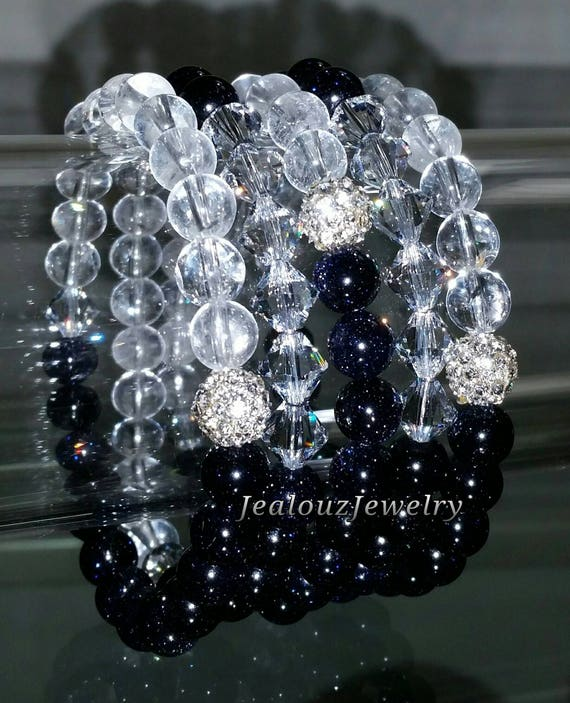 "5 Crystal Sparkly Navy Blue Galaxy Clear Quartz Sandstone Goldstone Gemstone 7"" Rhinestone Stretch Bracelet Arm Candy Stack Set"