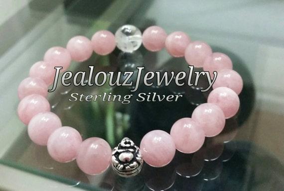 Powerful Healing Rose Quartz Yoga Mala Meditation Sterling Silver 10mm Gemstone Beaded Stretch Love Happiness Buddha Bracelet