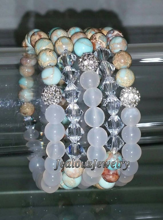 "5 Crystal Mint Tan White Multicolor Crystal Agate Serpentine Gemstone 7"" Rhinestone Stretch Bracelet Arm Candy Stack Set"