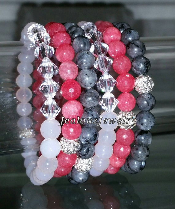 "Crystal White Agate Pink Jade Gray Labradorite Gemstone 7"" Shamballa Rhinestone Stretch Bracelet Arm Candy Stack Set"