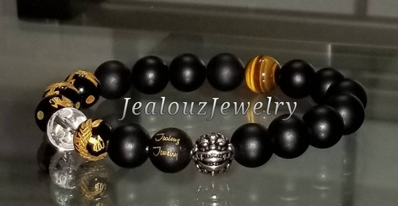 Protection Against  Negative Energy WealthSterling Silver Gold Lucky Dragon Matte Black Onyx Gemstone Mens Stretch Yoga Bracelet
