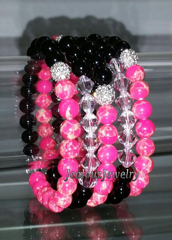 "5 Crystal Hot Pink Black Onyx Agate Regilite Gemstone 7"" Rhinestone Stretch Bracelet Arm Candy Stack Set"