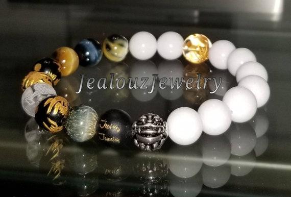 "Good Fortune Blue Tiger Eye White Jade 10mm Round Gemstone 7"" Stretch Yoga Bracelet 925 Thai Sterling Silver Lucky Dragon Quartz Mens"
