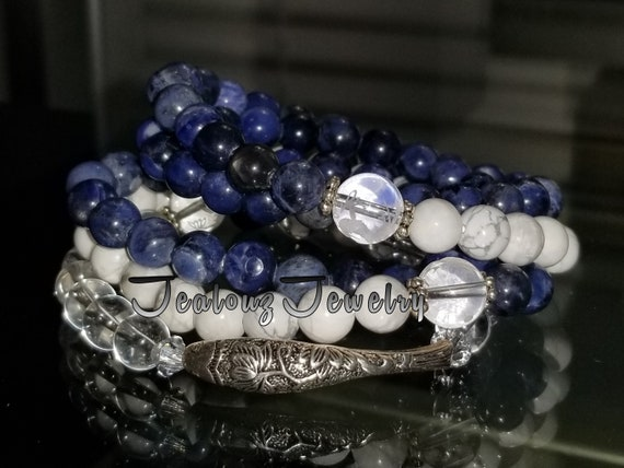 Sterling Silver Lucky Koi Fish Blue Sodalite White Turquoise Carved Quartz Gemstone Wrap Around Bracelet Anklet Necklace