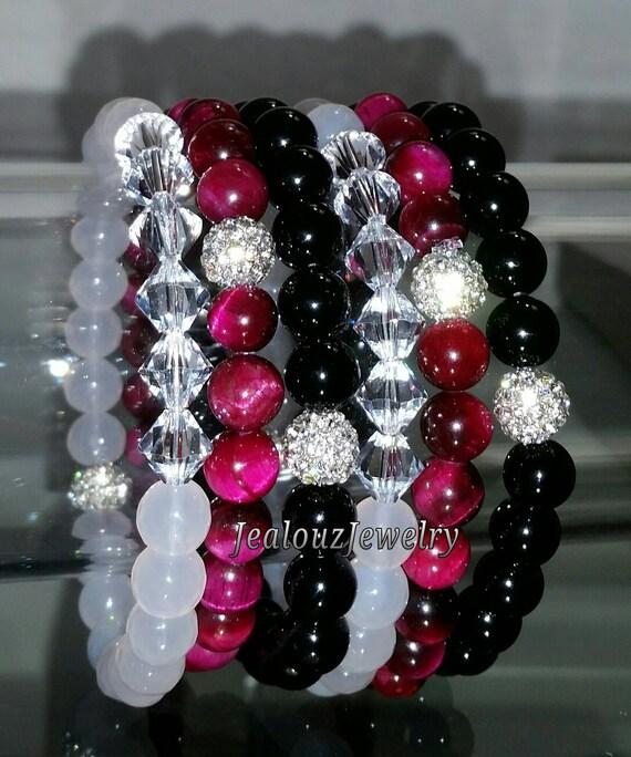 """Crystal White Agate Fuchsia Pink Tiger Eye Black Onyx Gemstone 7"""" Shamballa Rhinestone Stretch Bracelet Arm Candy Stack Set"""