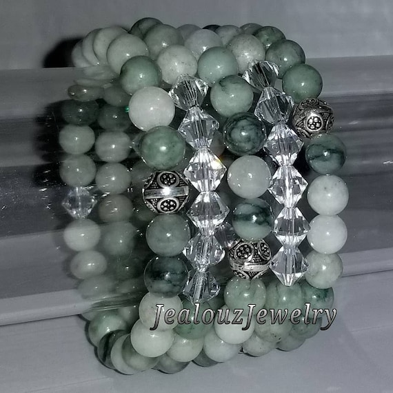 "925 Thai Sterling Silver Grade A Green Jadeite Jade 8mm Gemstone 7"" Stretch 5pc Stack Bracelet Arm Candy Set Made With Swarovski Crystal"