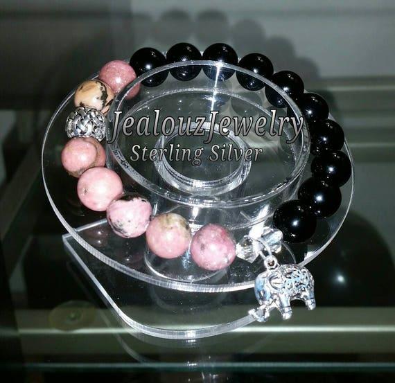 Sterling Silver 925 Lucky Elephant Endless Knott Pink Rhodonite Black Onyx Gemstone Beaded Stretch Bracelet