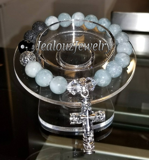 Sterling Silver 925 Lucky Endless Knott Ice Blue Beryl Aquamarine Throat Chakra Gemstone Beaded Stretch Mala Meditation Cross Bracelet