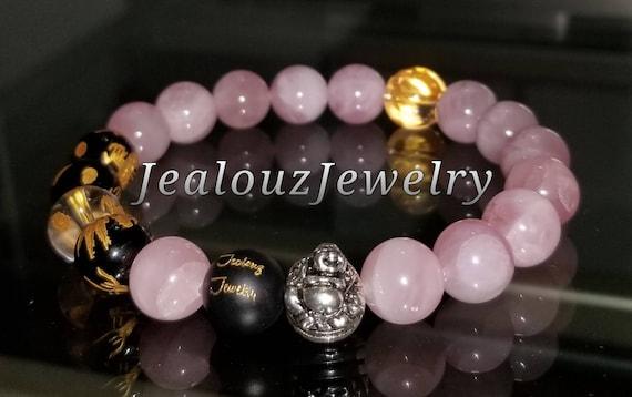 Protection Against Negative Energy Wealth Sterling Silver Gold Lucky Buddha Matte Black Onyx Pink Rose Quartz Gemstone Stretch Yoga Bracelet