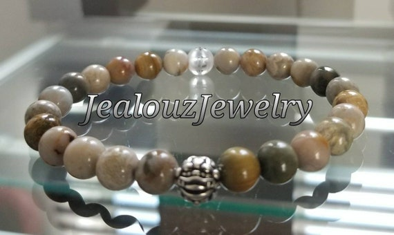 Luxury Natural Tan Positive Energy Sterling Silver Lucky Dragon Meditation Carved Om Jasper Gemstone Mens Bead Stretch Yoga Bracelet