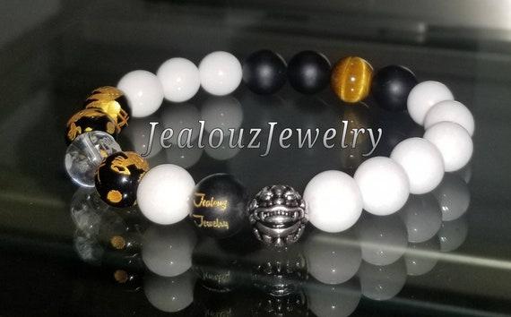 Protection Against Negative Energy Wealth Sterling Silver Gold Lucky Dragon Matte Black Onyx White Jade Gemstone Mens Stretch Yoga Bracelet