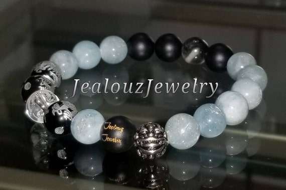 Protection Against Negative Energy Wealth Sterling Silver Lucky Dragon Matte Black Onyx Blue Aquamarine Gemstone Stretch Yoga Bracelet