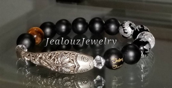 Sterling Silver Lucky Lotus Flower Koi Fish Matte Black Onyx Tiger Eye Quartz Gemstone Protection Against Negative Energy Healing Bracelet