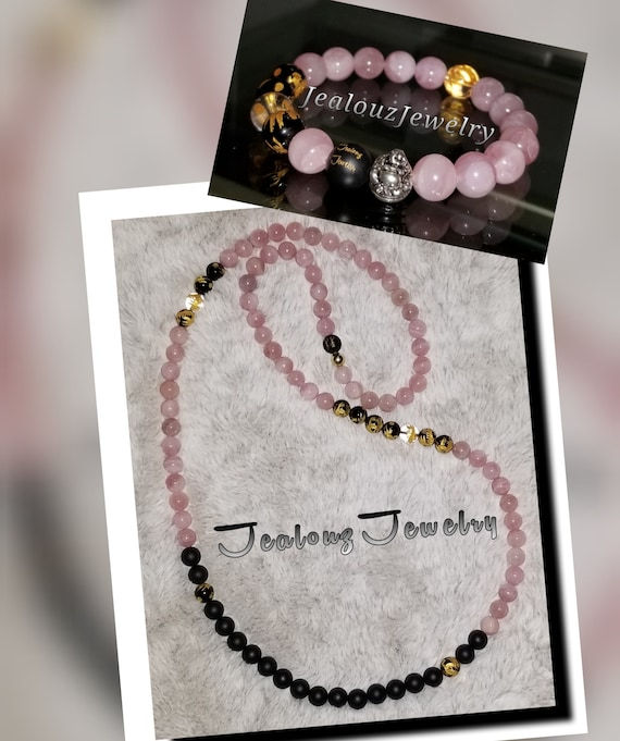 Sterling Silver Lucky Buddha Dragon AAA Rose Quartz Matte Black 10mm Healing Gold Carved Gemstone Beaded Mens Yoga Necklace Bracelet Set