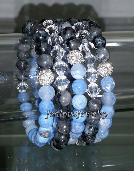 "5 Crystal Lt Ice Blue Gray Labradorite Agate Gemstone 7"" Rhinestone Stretch Bracelet Arm Candy Stack Set"
