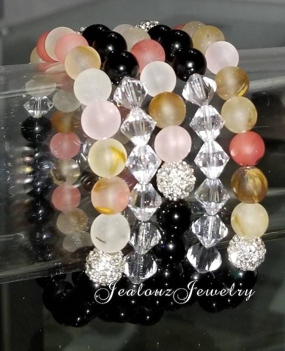 "5 Crystal Matte Salmon Quartz Black Onyx Gemstone 7"" Shamballa Rhinestone Beaded Stretch Bracelet Arm Candy Party Stack Set"