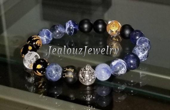 Protection Against Negative Energy Wealth Sterling Silver Lucky Buddha Matte Black Onyx Blue Sodalite Gemstone Stretch Wisdom Yoga Bracelet