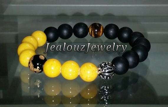 "Positive Energy Protection Sterling Silver Lucky Dragon Matte Black Yellow Jade Gemstone Hip Hop Mens Beaded Stretch Yoga 7"" Bracelet"