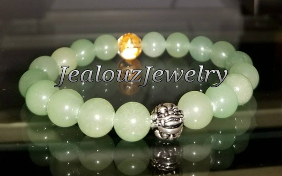 "Green Jade Heart Chakra Gemstone 7"" Stretch Meditation  Yoga Wealth Bracelet 925 Sterling Silver Lucky Dragon Mens Mala"