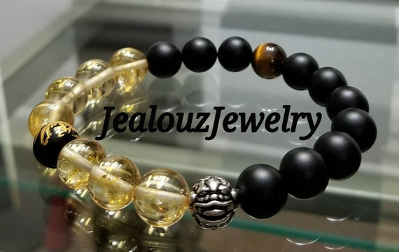 "Citrine Gemstone 7"" Stretch Yoga Bracelet 925 Sterling Silver Lucky Pixiu Dragon Matte Black Gold Mens Wealth Mala"