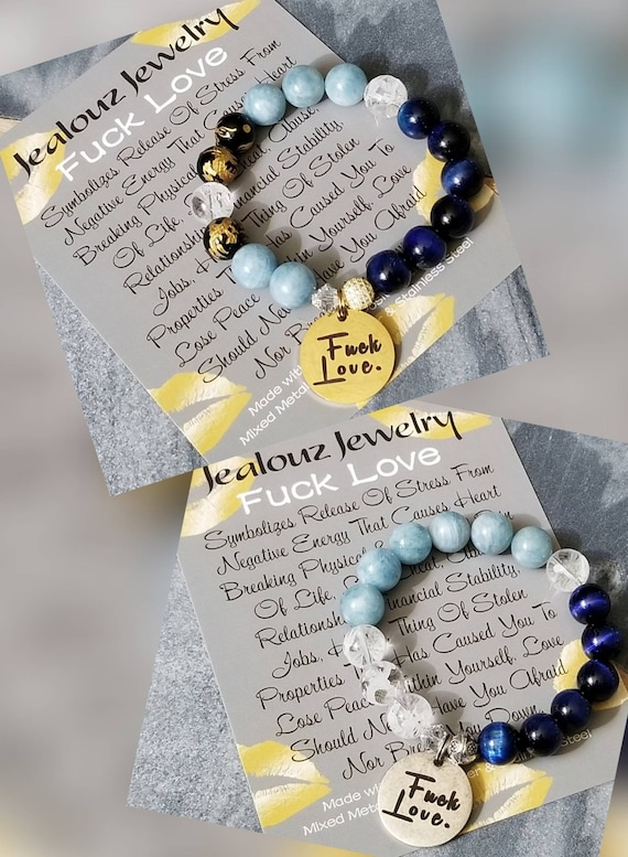 Chunky Fuck Love 12mm Gemstone Aquamarine Blue Tiger Eye Mixed Metal Sterling Silver Cubic Zirconia & Stainless Steel Coin Charm Bracelet