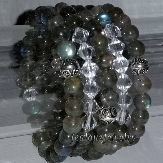 "925 Thai Sterling Silver Grade A Gary Labradorite 8mm Gemstone 7"" Stretch 5pc Stack Bracelet Arm Candy Set Made With Swarovski Crystal"