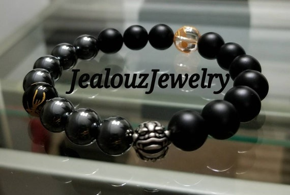 "Gold Gray Hematite Energy Protection Gemstone 7"" Stretch Yoga Bracelet 925 Sterling Silver Lucky Dragon Quartz"