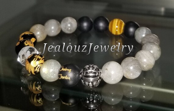 Protection Against Negative Energy Wealth Sterling Silver Gold Lucky Dragon Matte Black Onyx Labradorite Gemstone Mens Stretch Yoga Bracelet