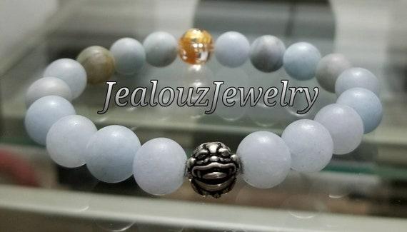 "Ice Blue Aquamarine Beryl Matte Gemstone 7"" Stretch Yoga Bracelet 925 Sterling Silver Lucky Gold Dragon Quartz Mens Mala"