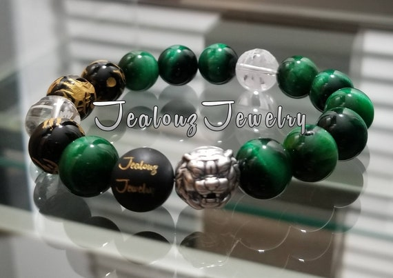 "Positive Energy Wealth Sterling Silver Lion Lucky Dragon 12mm Emerald Green Tiger Eye Gemstone Hip Hop Mens 7"" Beaded Luxury Yoga Bracelet"