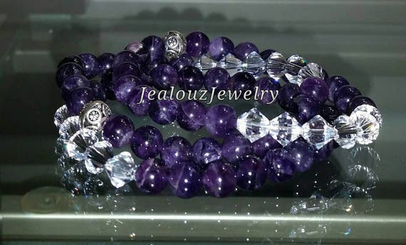 "Crystal Purple Amethyst 925 Thai Sterling Silver 8mm Gemstone 7"" Stretch 3pc Stack Bracelet Arm Candy Set"