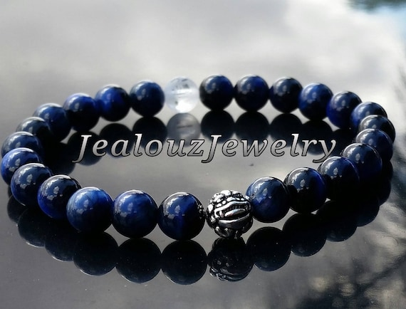 "Luxury Blue Tiger Eye 8mm Gemstone 7"" Stretch Yoga Wisdom Bracelet 925 Sterling Silver Lucky Pixiu Dragon Mens"