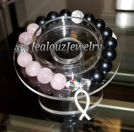 Sterling Silver 925 Endless Knott Breast Cancer Awareness Ribbon Rose Quartz Matte Black Onyx Protection Gemstone Beaded Stretch Bracelet
