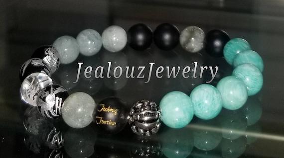 "Lt Turquiose Amazonite Throat Chakra Aquamarine Gemstone 7"" Stretch Meditation Yoga Bracelet 925 Sterling Silver Lucky Dragon Mens"