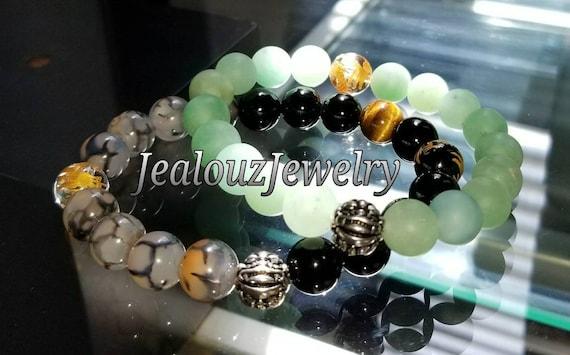 "Matte Green Jade Black Onyx Gemstone 7"" Stretch Yoga Energy Protection Wealth Bracelet 925 Sterling Silver Lucky Dragon Mens Mala"