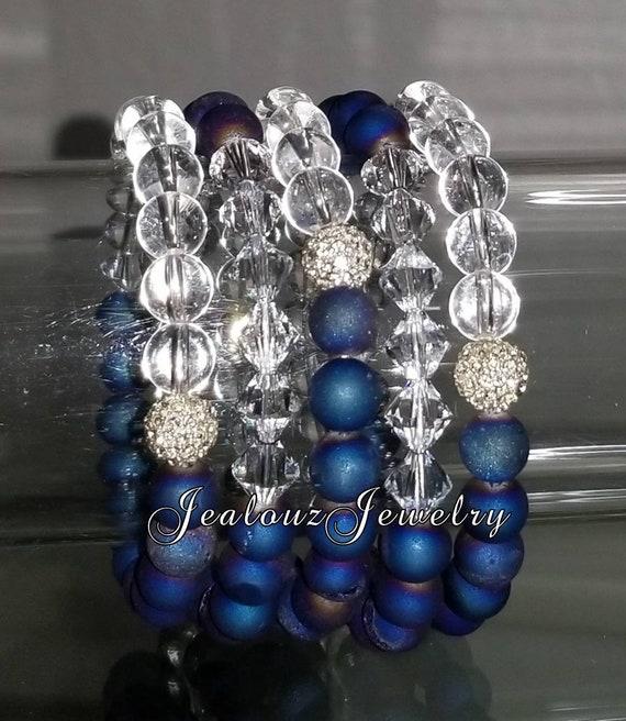 "5 Crystal Sparkly Royal Blue Druzy Clear Quartz Gemstone 7"" Rhinestone Stretch Bracelet Arm Candy Stack Set"