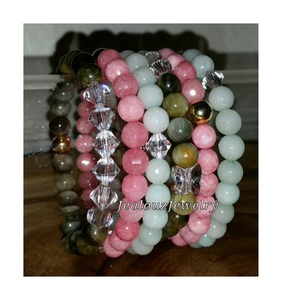 "Crystal Butterfly Gray Tiger Eye Pink Coral Mint Amazonite 24k Gold Sterling Silver 8mm Gemstone 7"" Stretch 6pc Stackable Bracelet Set"