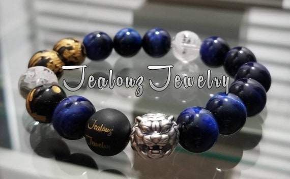 "Good Fortune Blue Tiger Eye 12mm Round Gemstone 7"" Stretch Yoga Bracelet 925 Thai Sterling Silver Lion Lucky Dragon Quartz Luxury Mens"