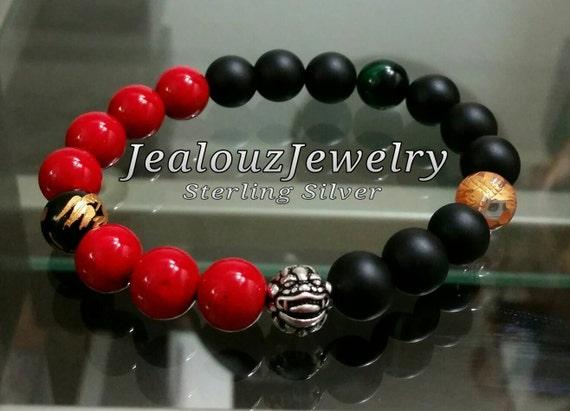 Positive Energy Wealth Sterling Silver Lucky Dragon Matte Black Red Emerald Tiger Eye Gemstone Hip Hop Mens Beaded Stretch Yoga Bracelet